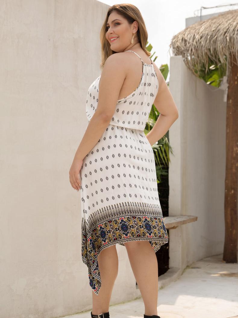 Border Print Casual Dress