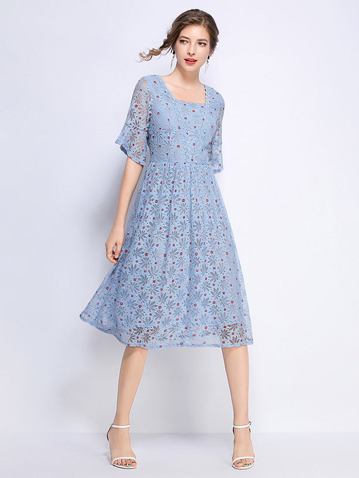 Colorful Lace Cocktail Dress