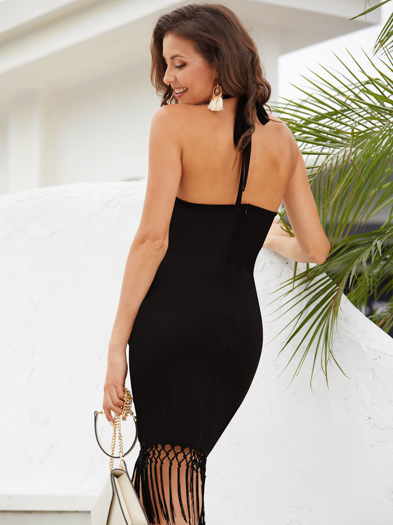 Cocktail Dress with Fringed Hem