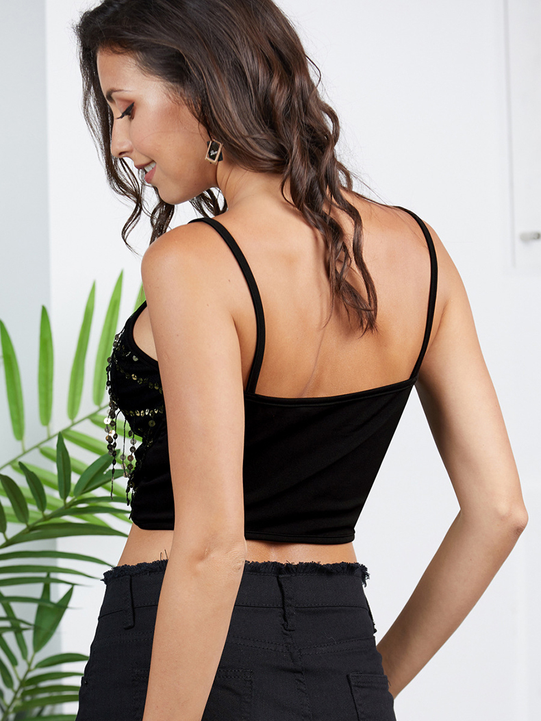 Cropped Top with Sequins
