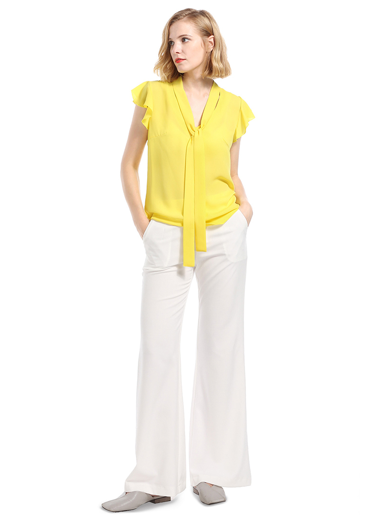 Chiffon Top with Flutter Sleeves