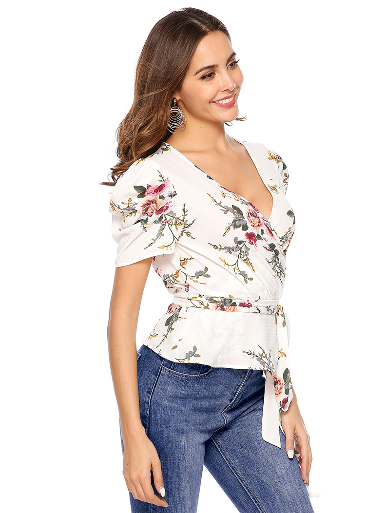 Wrapped Top with Short Sleeves