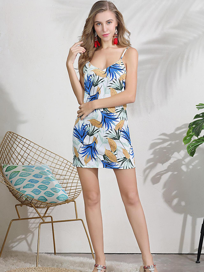 Mini Rayon Print Casual Dress