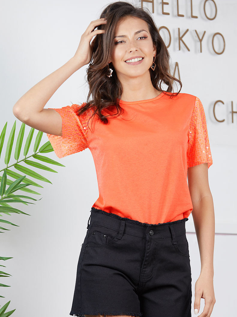 Knit Top with Mesh Sequin Sleeves