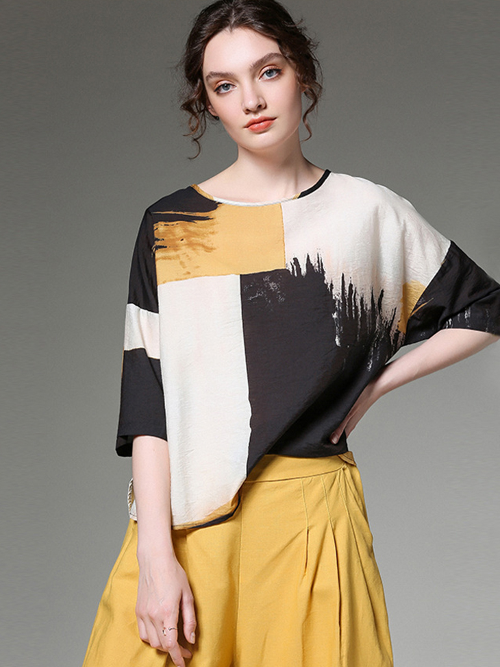 Print Polyester Loose Top