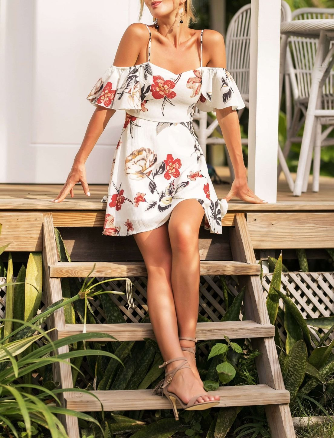 Summer Floral Dress in Antique White