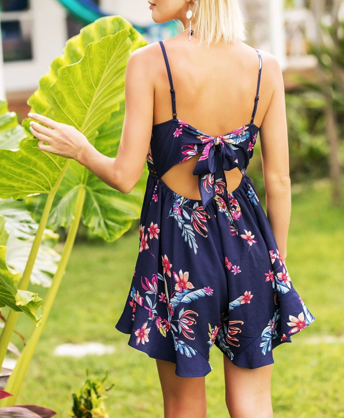 Summer Floral Pant Dress with Lace Insert