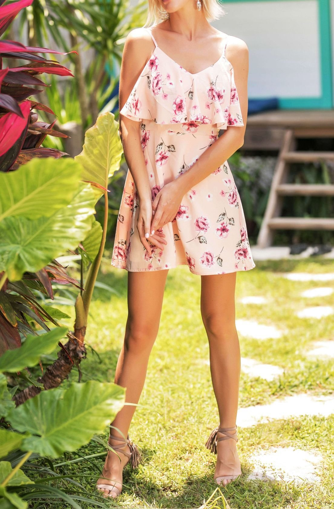 Summer Pink Floral Dress with Wide Ruffle