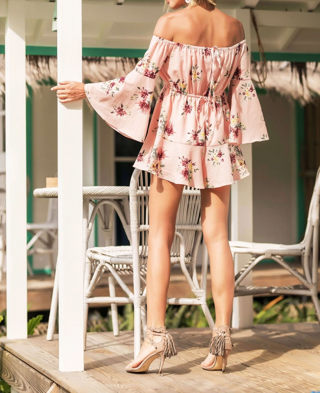 Summer Floral Pant Dress with Bell Sleeves