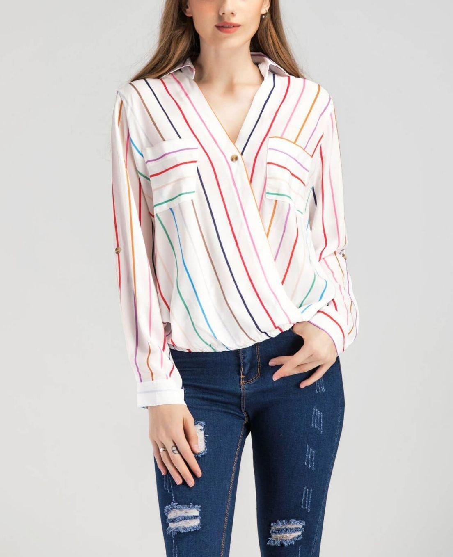 Women's Top Striped Minimalist Blouse