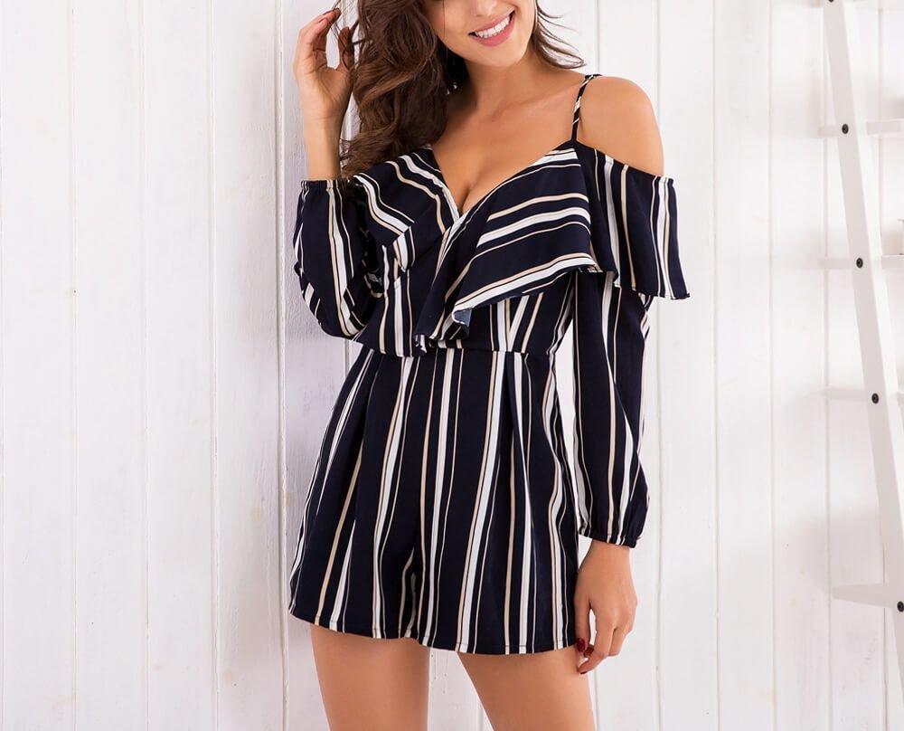 Summer Cold-Shoulder Pant Dress With Bold Stripes