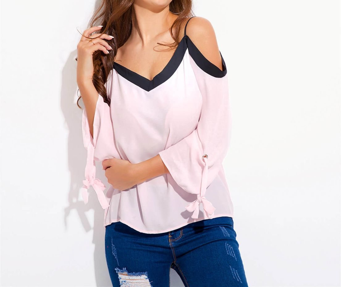 Women's Top with Button-Tab Sleeves