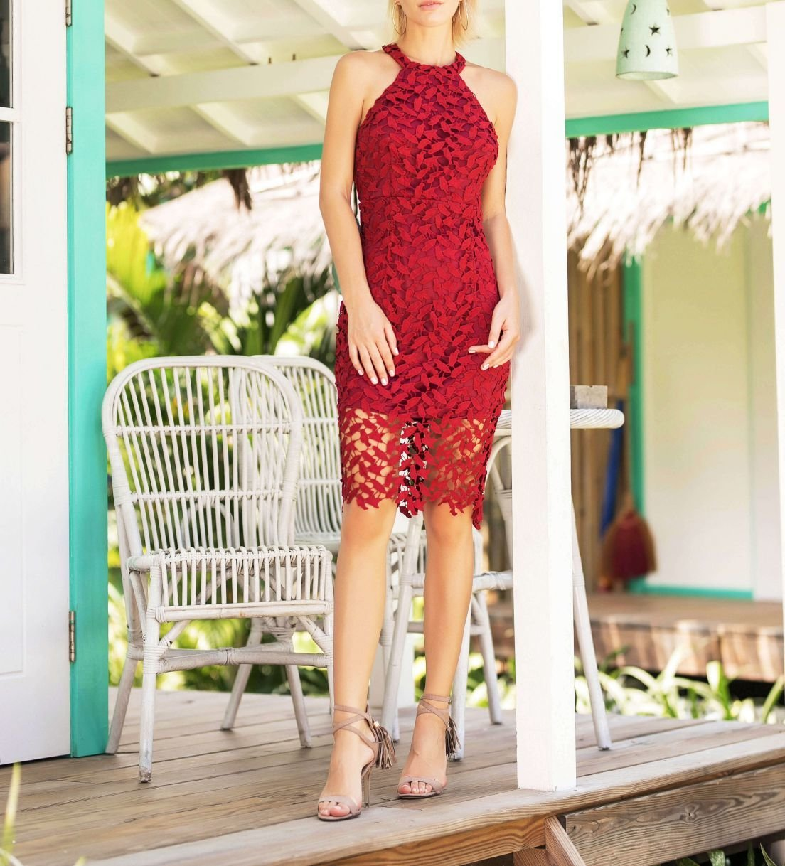 Lace Dress in Raspberry