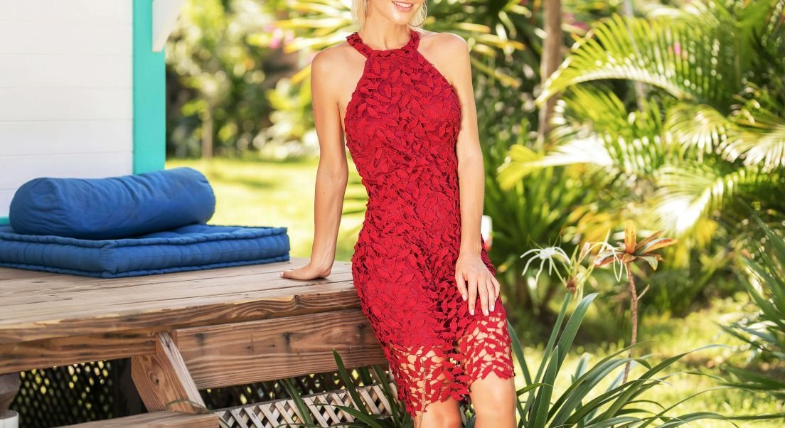 Lace Dress in Raspberry