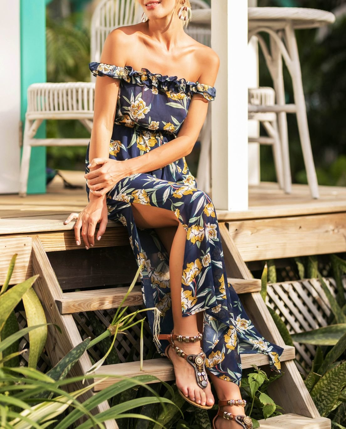Off-Shoulder Floral Maxi Dress
