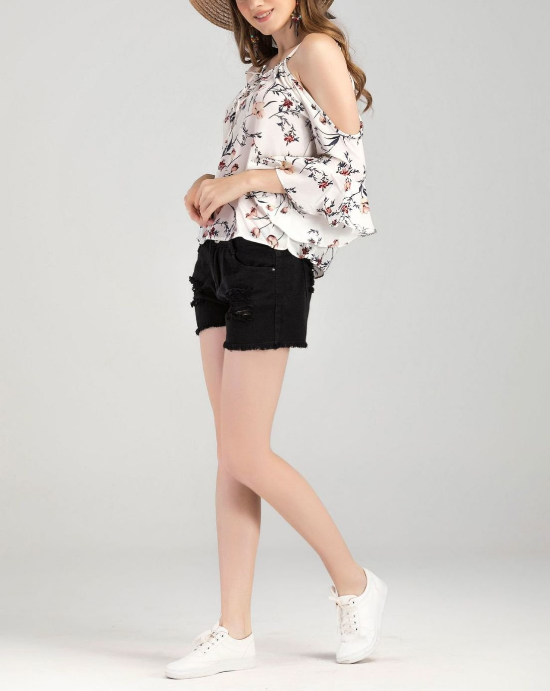 Floral Cropped Top with Ruffled Sleeves and Cold Shoulders
