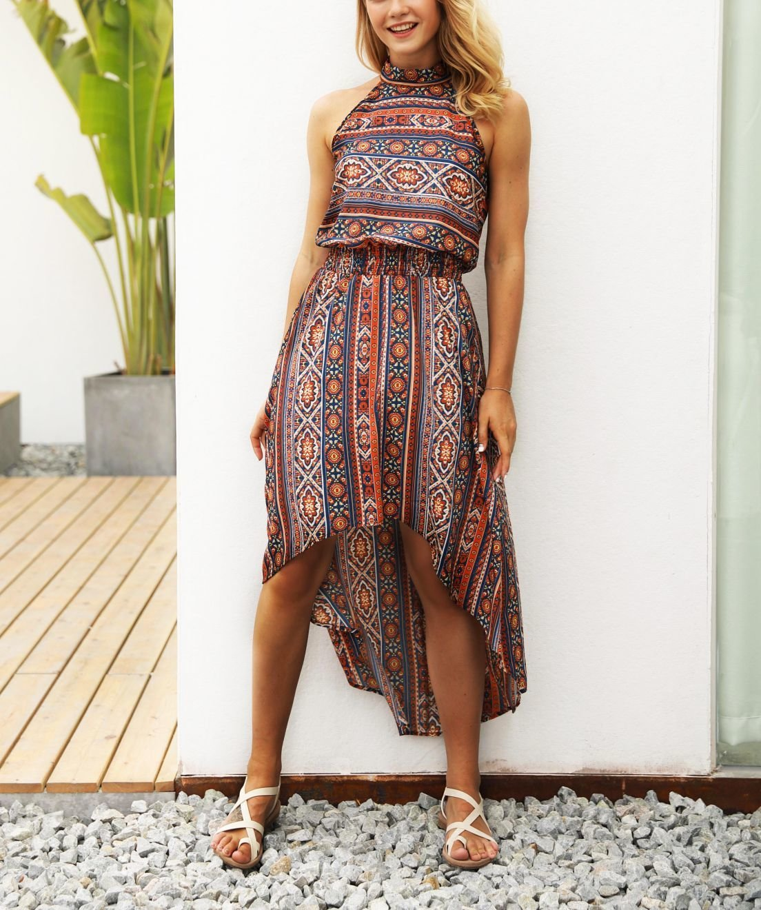 Summer Halter Dress in Geometric Print