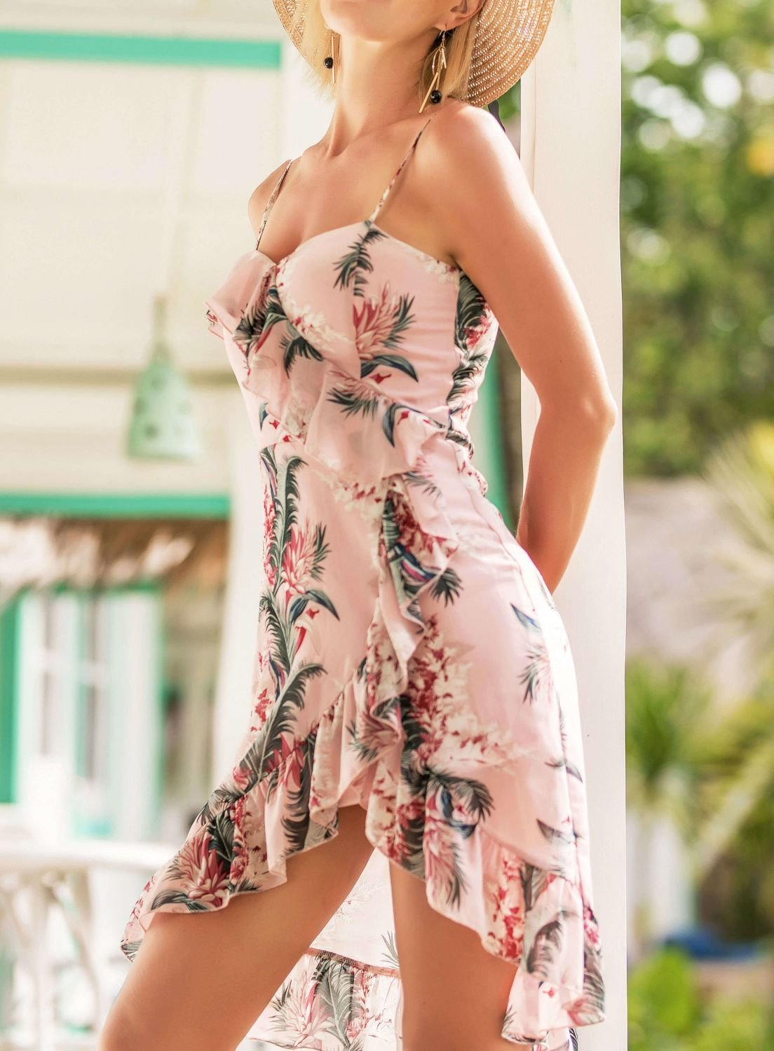 Floral Slip Dress in Mauve with Magenta and Green