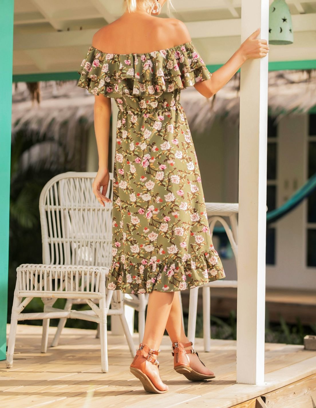 Sophisticated Summer Floral Dress with Double Ruffle Neckline