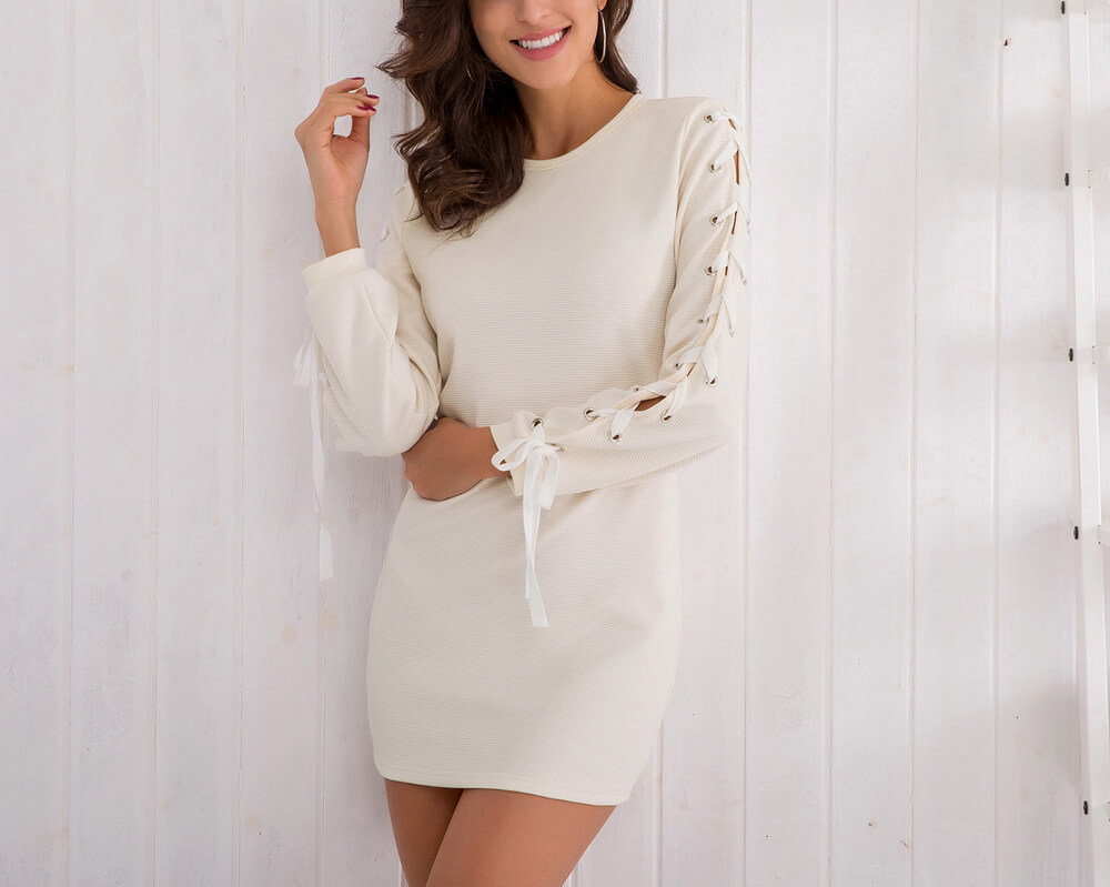 Float Dress with Laced Barrel Sleeves