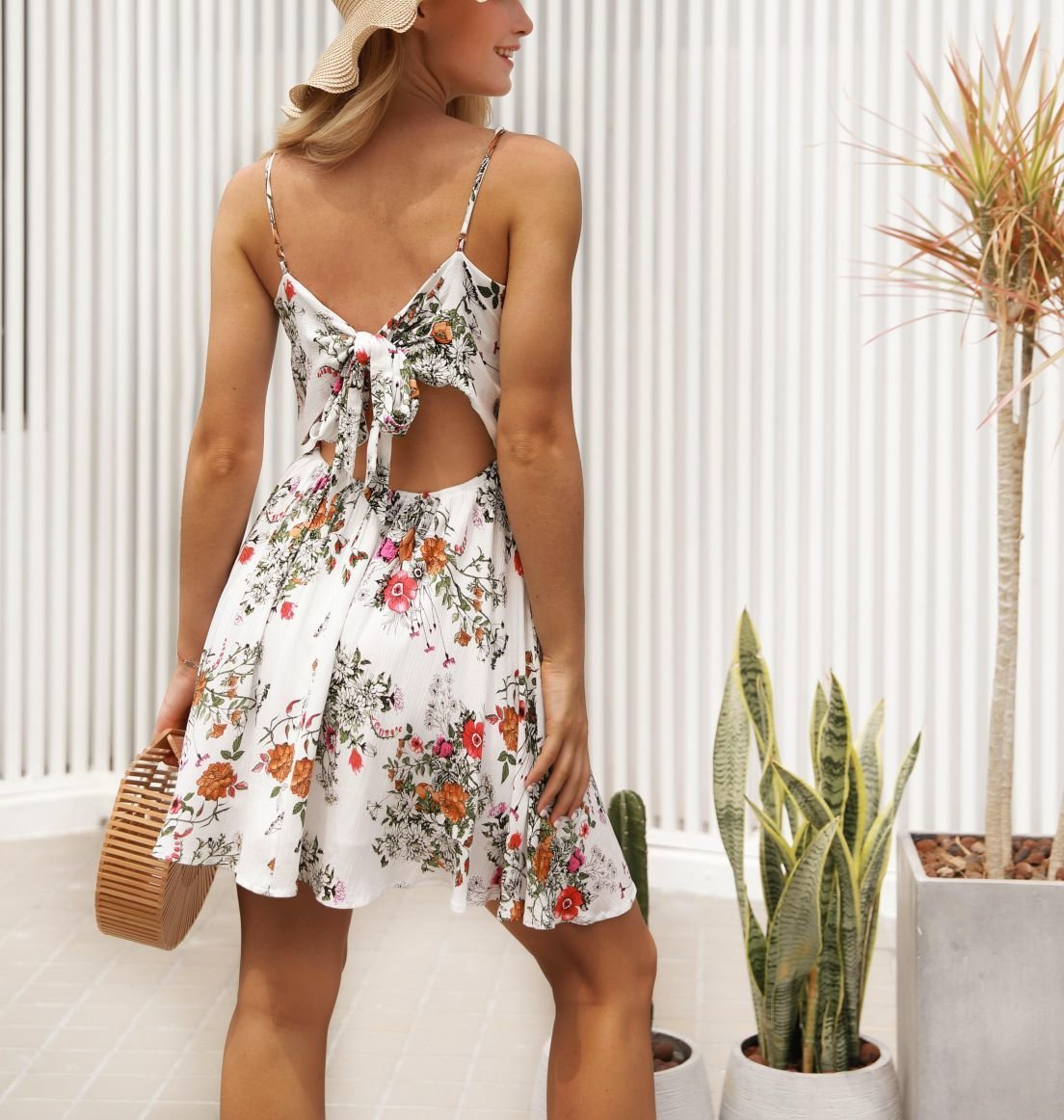 Floral Dress with Lace and Fringe Bodice