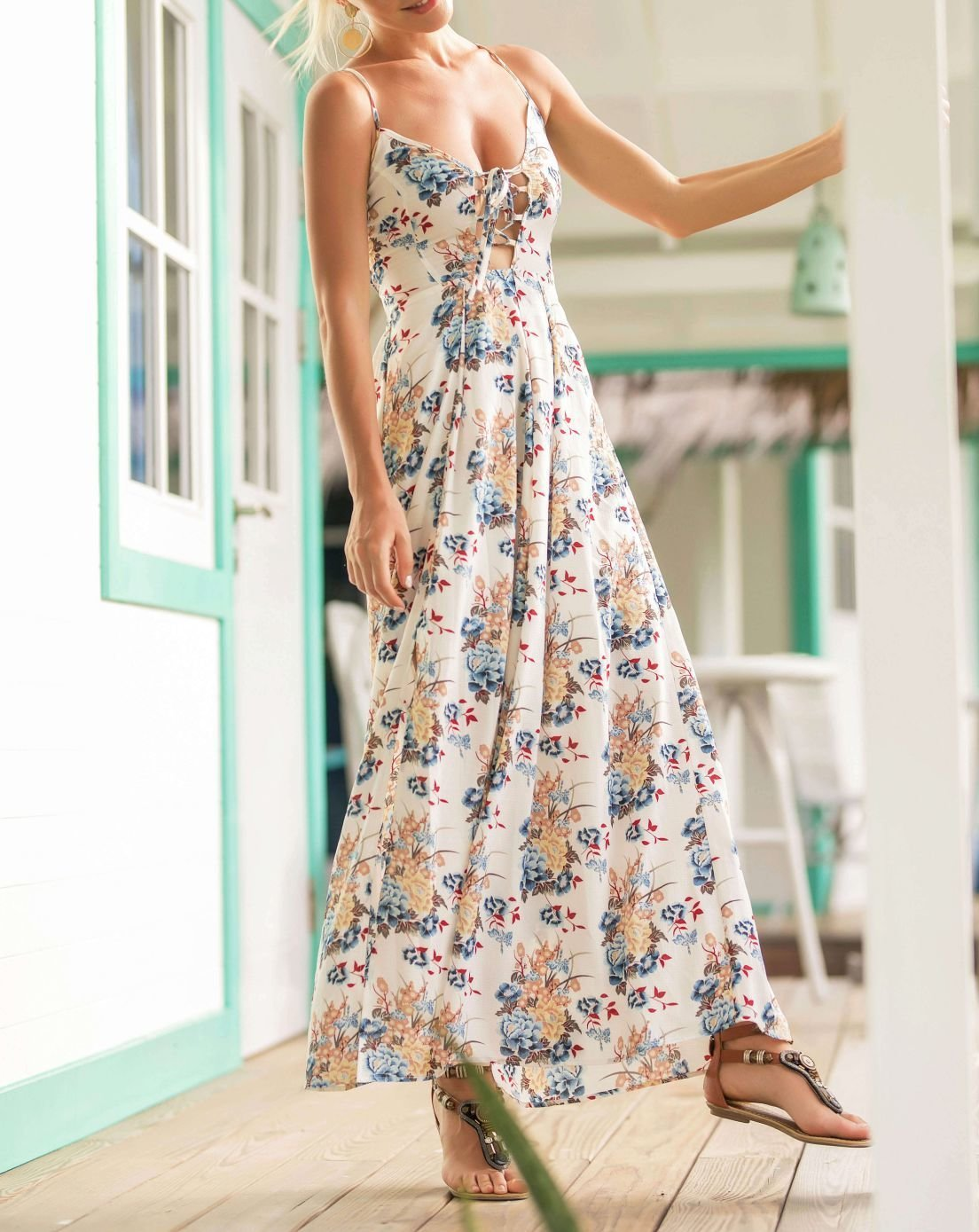 Slip Dress in Maxi Length with Laced Front
