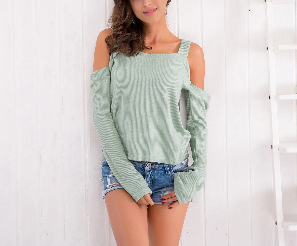 Ribbed Crop Top with Long Angel Sleeves