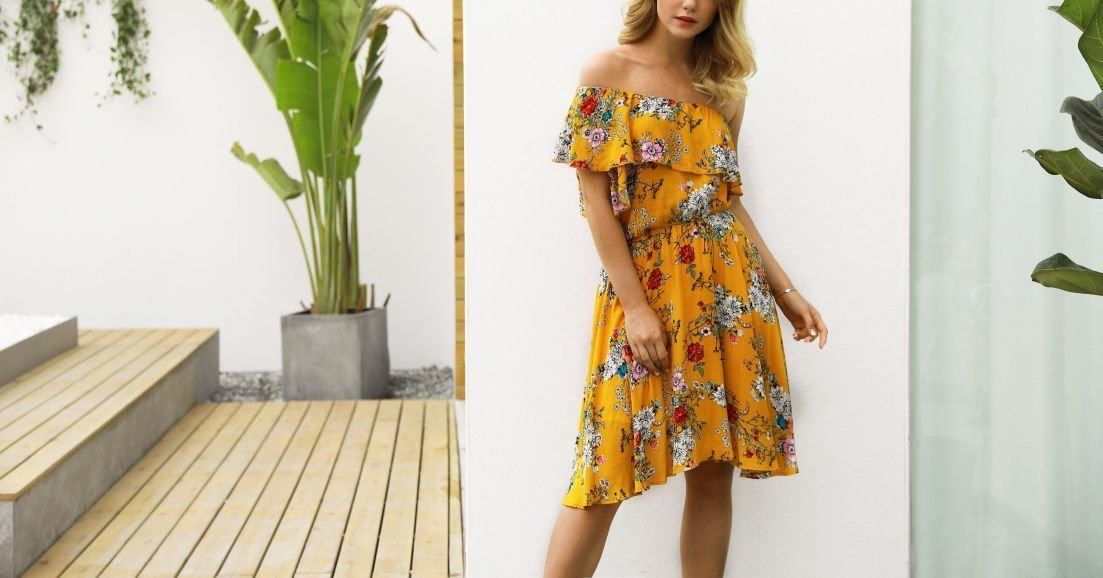 Asymmetrical Floral Dress with Off-Shoulder Ruffle