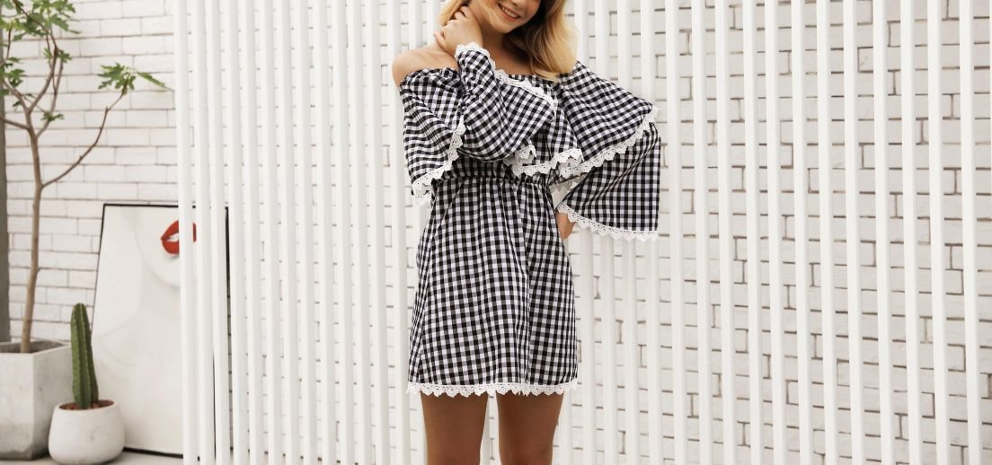 Off-Shoulder Checked Dress with Long Sleeves