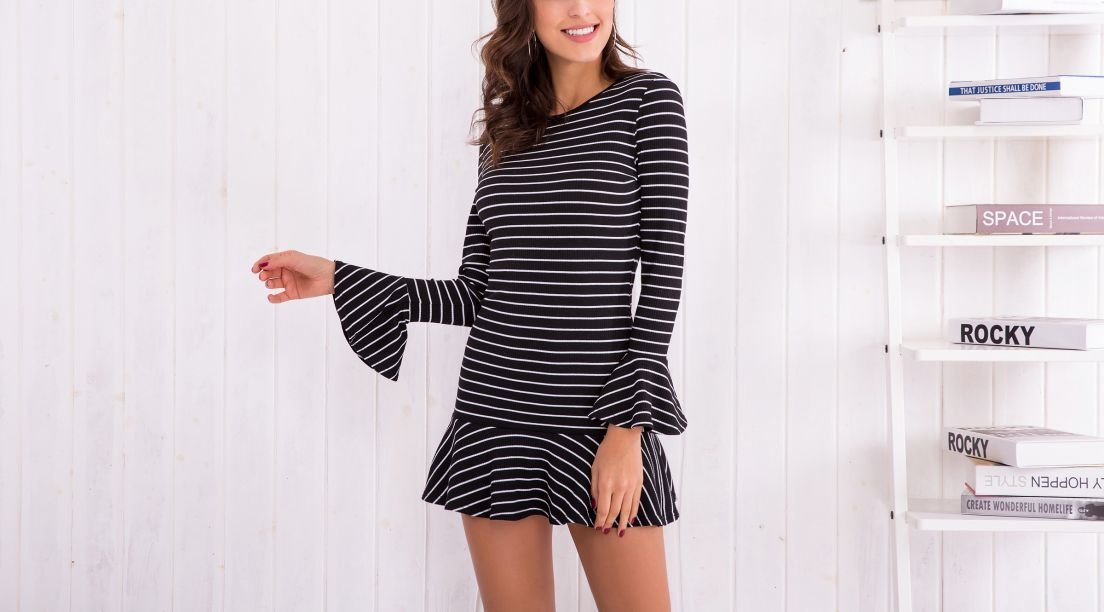Striped Knit Dress with Dropped Waist