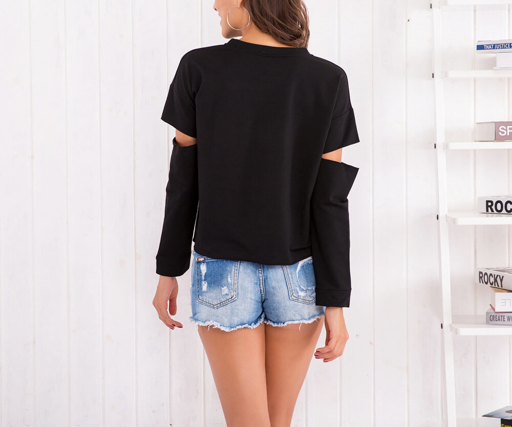 Black Crop Top with Slashes