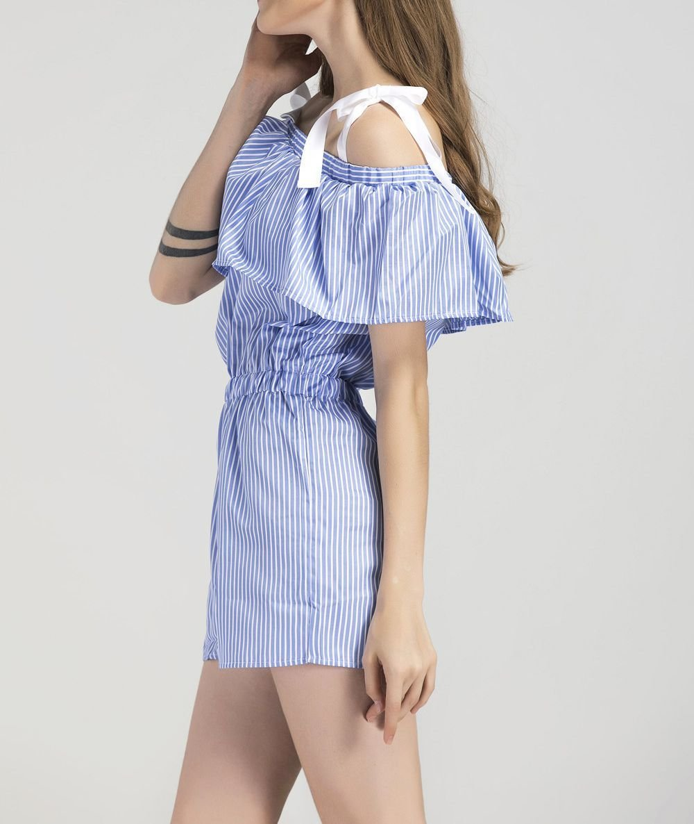 Pretty Summer Striped Pant Dress with Ribbons