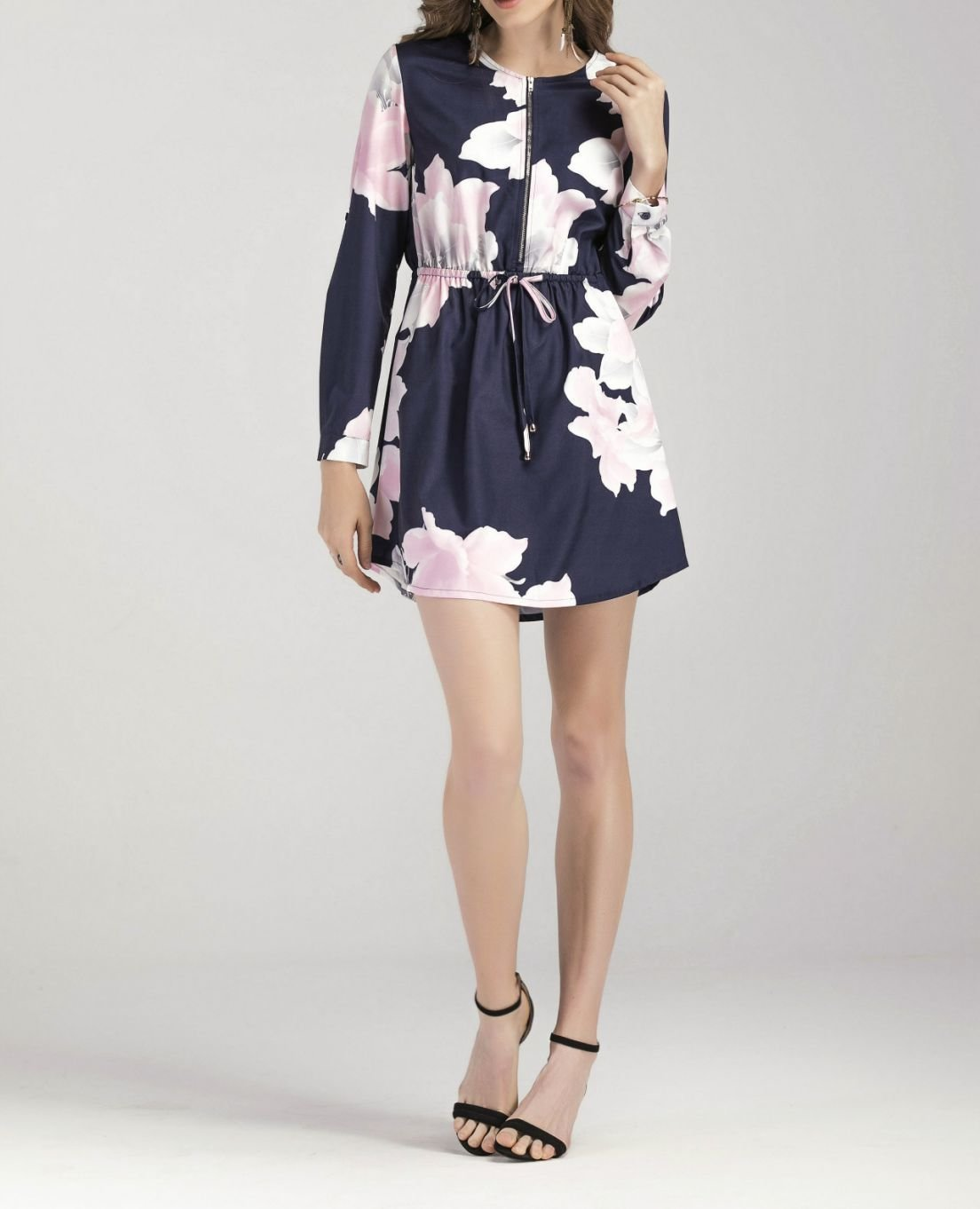 Float Dress with Elastic Waist and Front Zipper