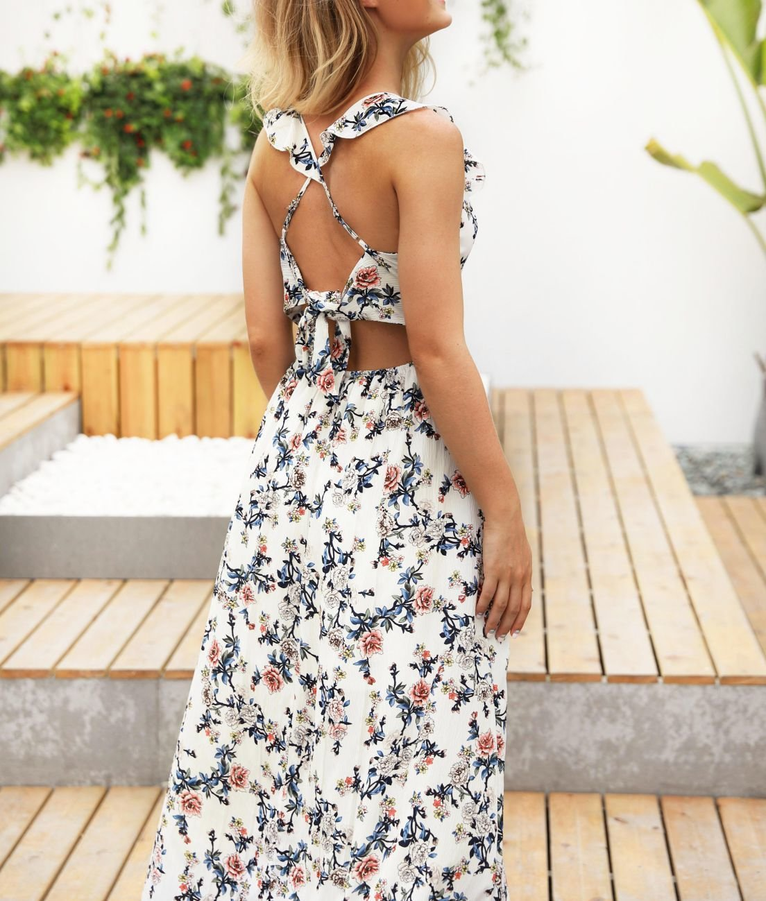 Sleeveless Floral Maxi Dress with Empire Waist
