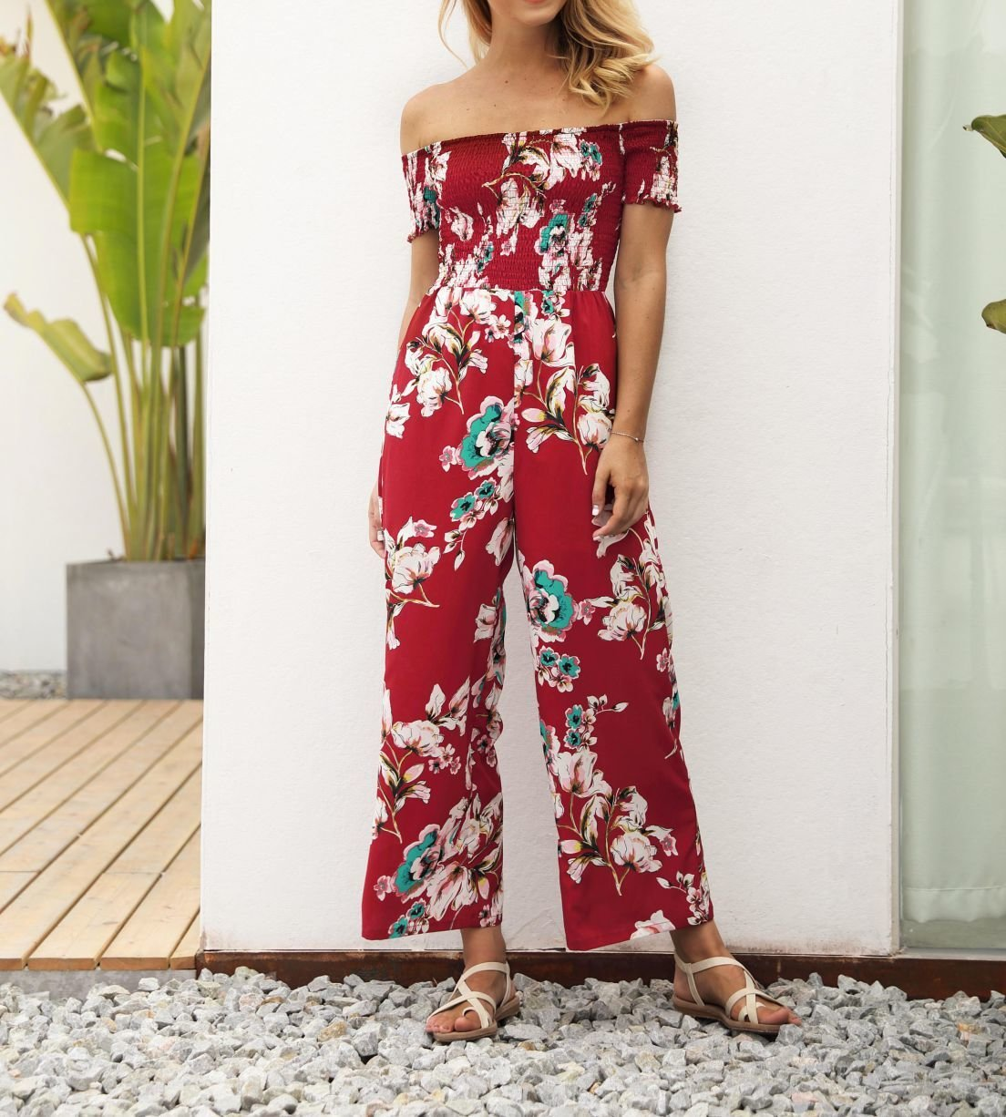 Floral Pant Dress with Smocked Stretch Top