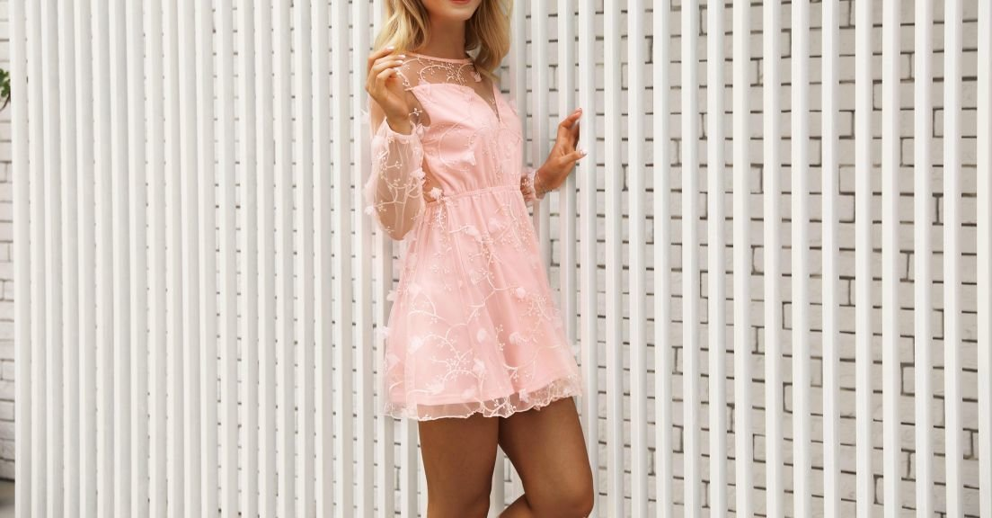 Pink Semi-Formal Short Dress with Sheer Embroidery