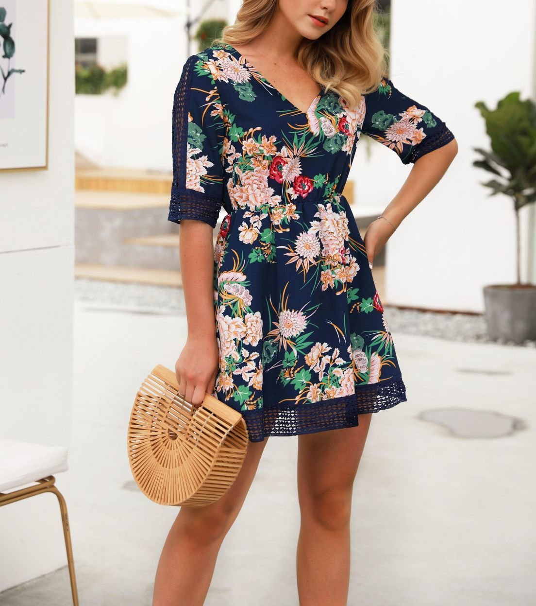 Vintage Floral Dress with Elbow-Length Sleeves