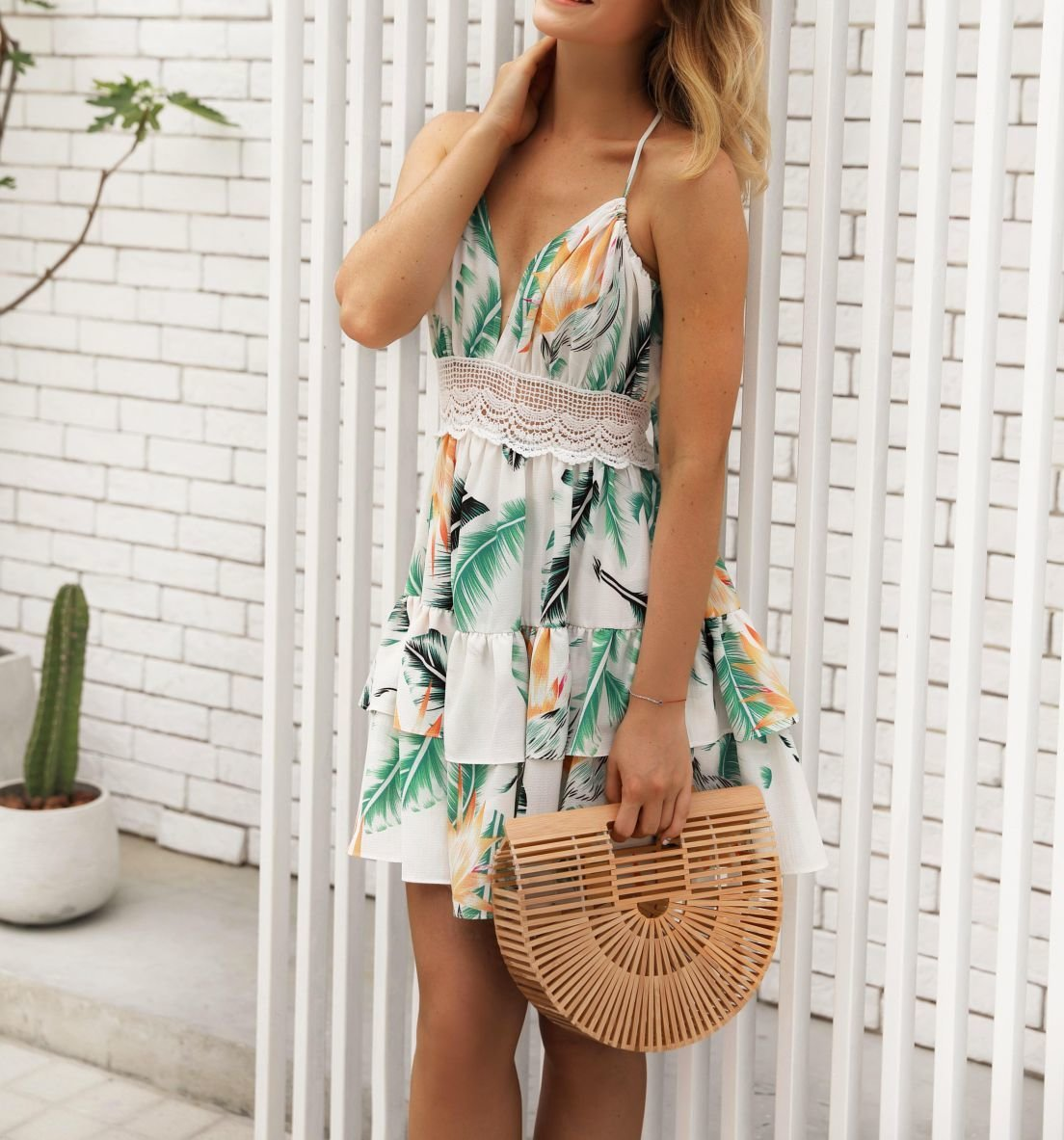 Ruffled Sun Dress with Lace Insert