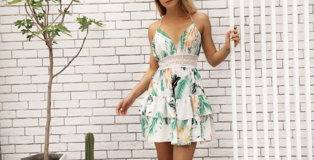 Ruffled Sun Dress with Lace Insert