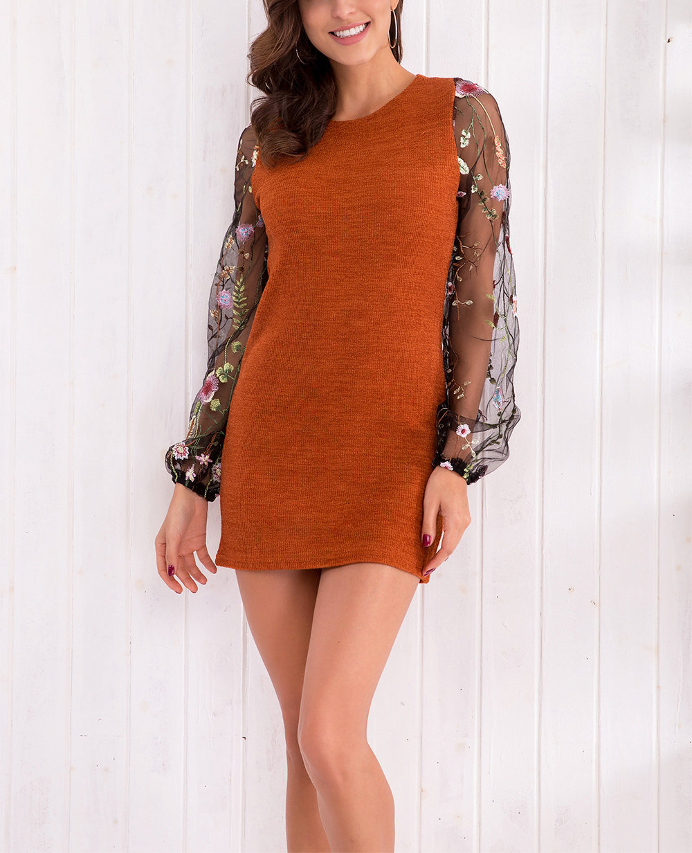 Knit Dress with Elegant Embroidered Sleeves