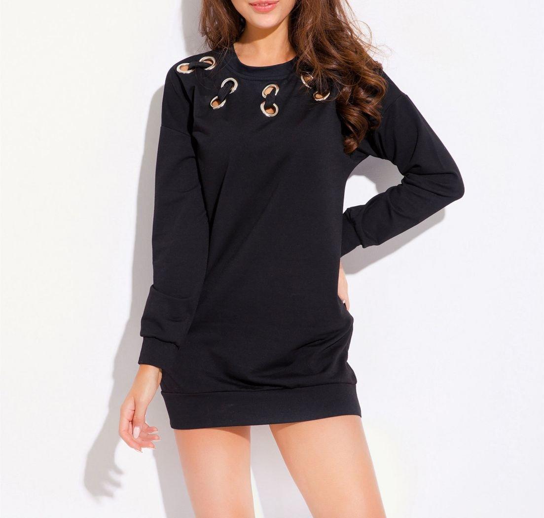 Black Knit Mini Dress with Giant Eyelet Trim
