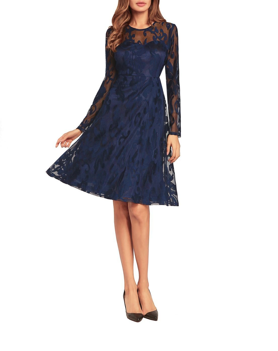 Vintage Hollow-Out Lace Dresses for Women