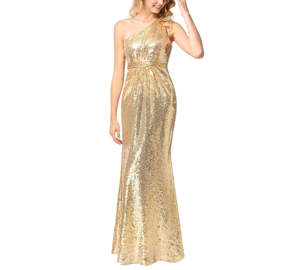 One-Shoulder Sequin Evening Dress