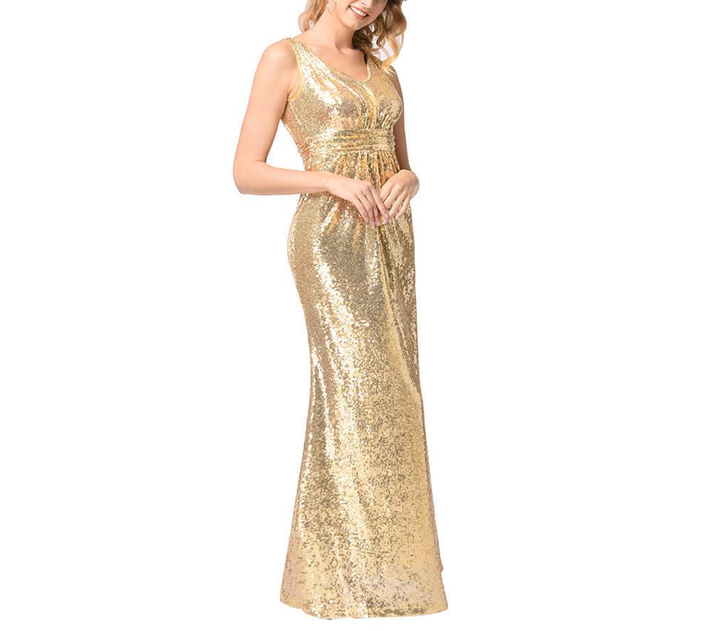 Deep V-Neck Sequin Evening Dress