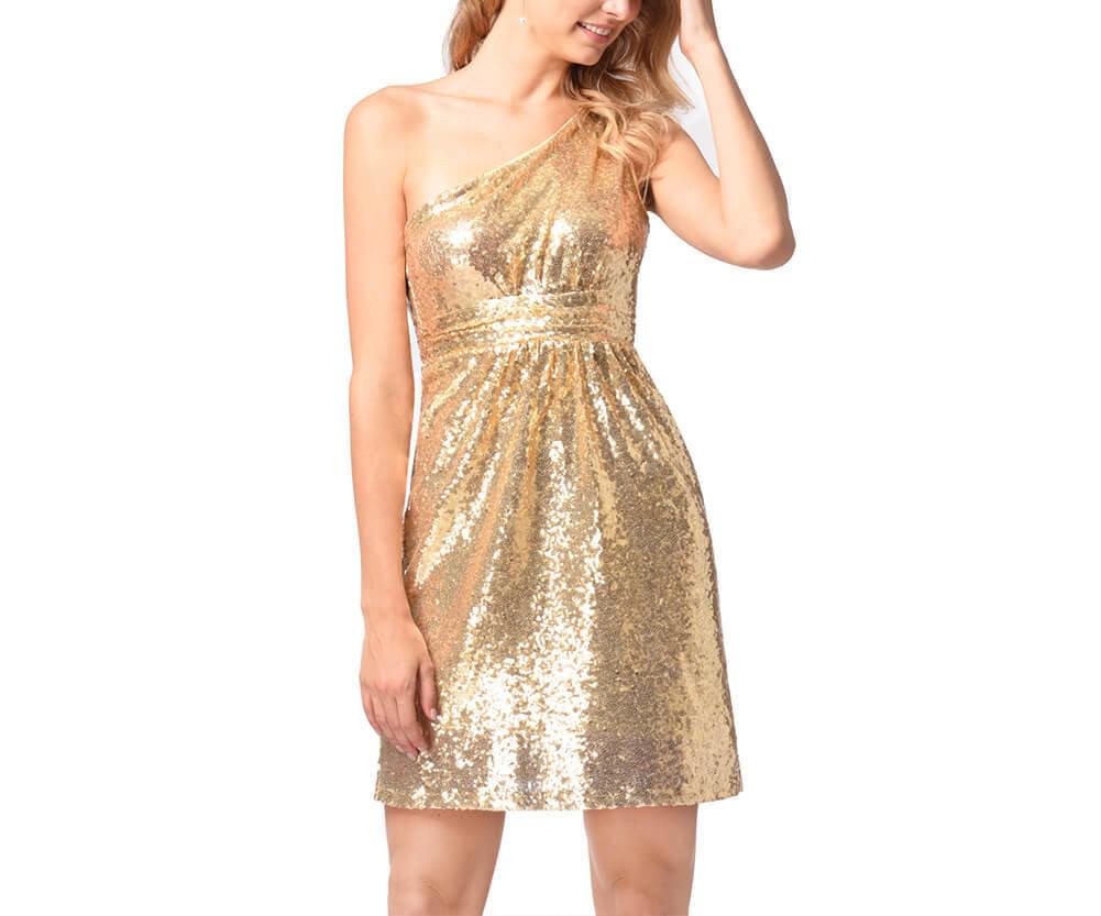 One-Shoulder Short Sequin Dress