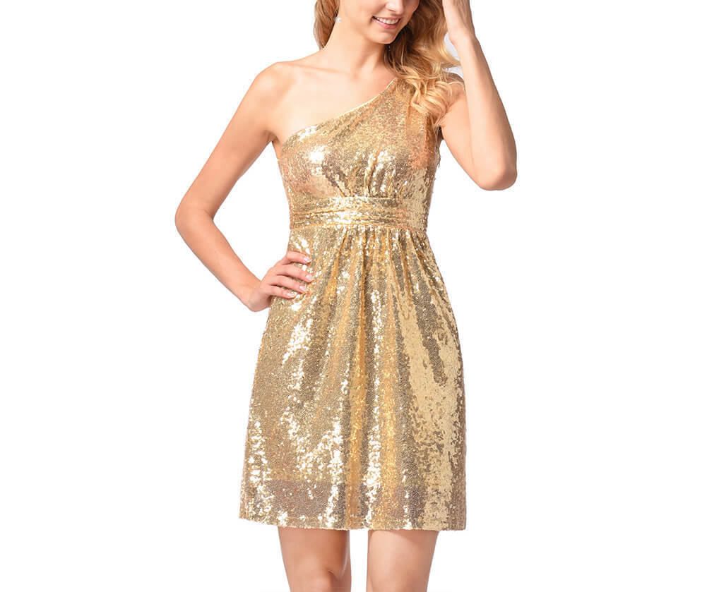 One-Shoulder Short Sequin Dress