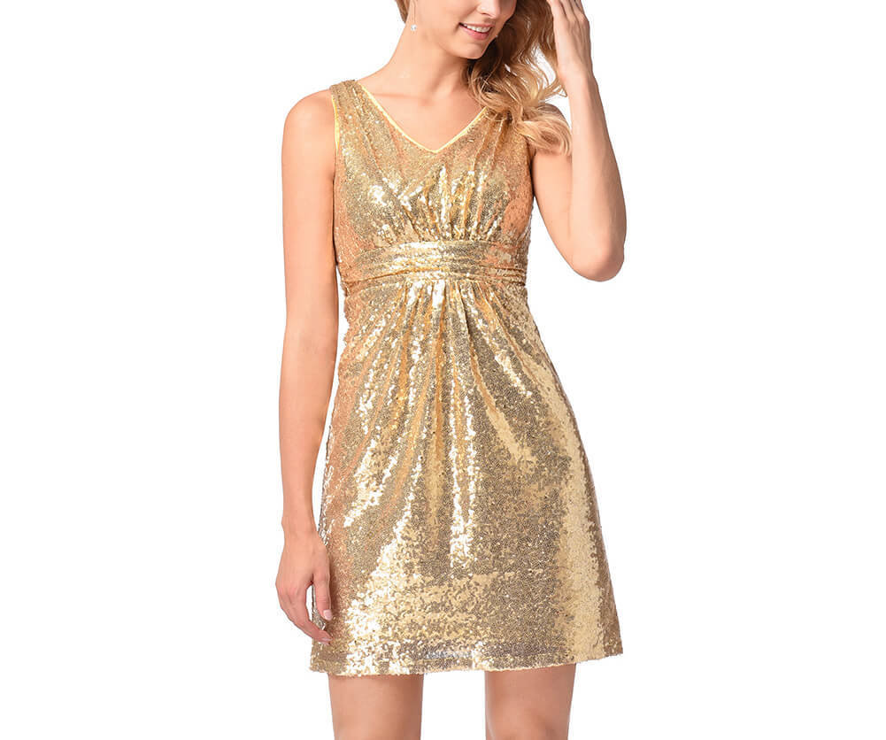 Bodycon Short Sequin Dress with Deep V-Back