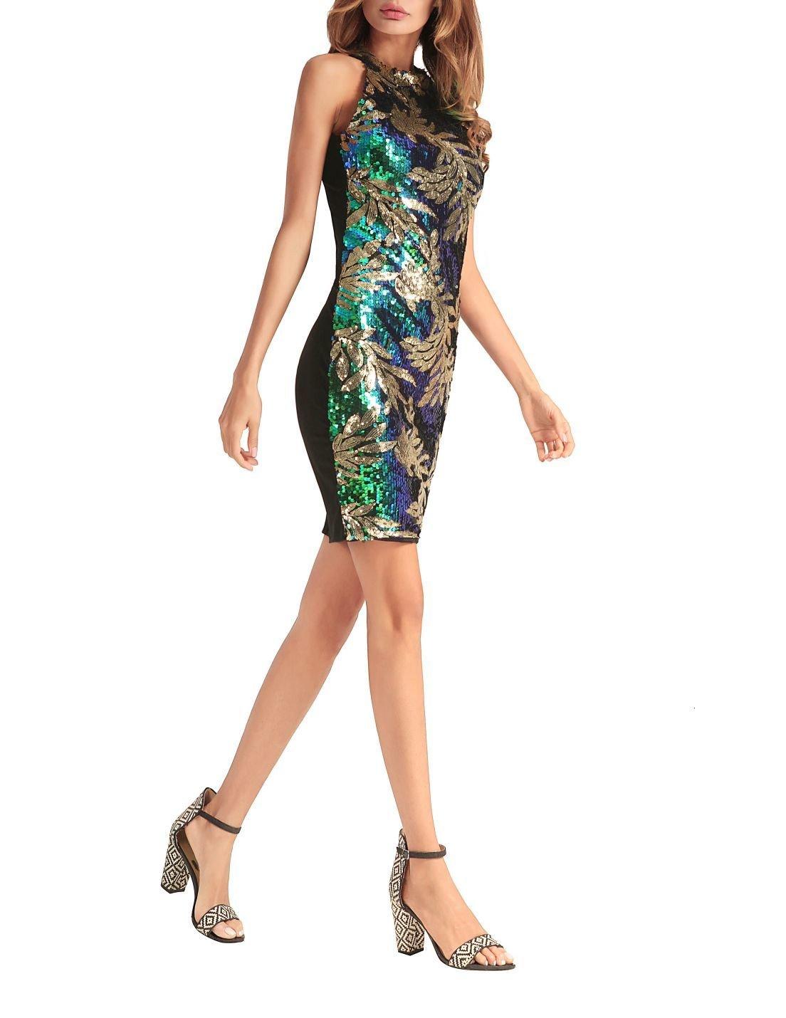 Sequined Tropical Leaf Design Dress