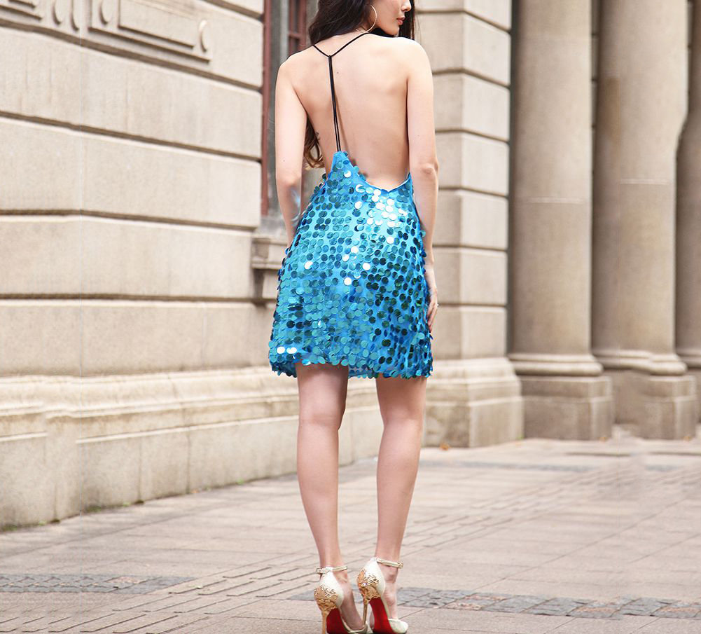 Sexy Slip Dress with Large Sequins