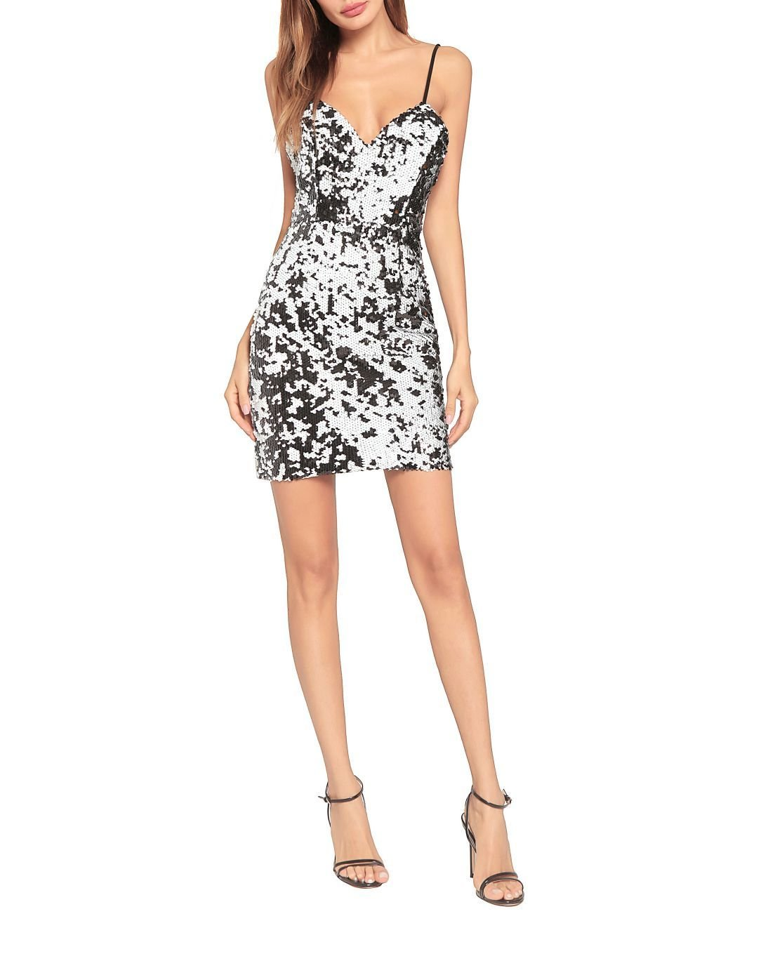 Black and Silver Patterned Slip Dress with Sequins